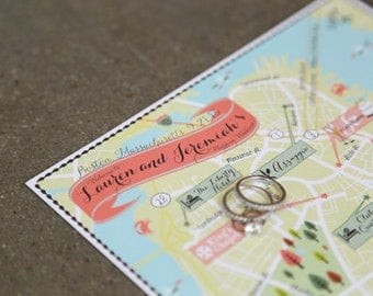 Custom Wedding Map, Custom Boston Map, Personalized Maps, Custom Map Design, Custom Illustrated Map, Map and Itinerary, Out of town bag Map