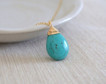 SALE -- Turquoise Drop Necklace, Gold Filled