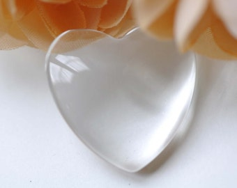 20 pcs of Crystal Glass Cabochon Heart Shaped Cameo 22.5x23.5mm A7731