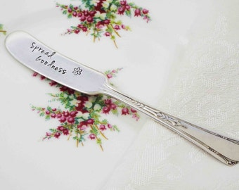 Spread Goodness, Holiday Entertaining, Cheese Spreader, Cheese Knife, Hostess Gift, Holiday Table Setting, Spread Love, Hand Stamped