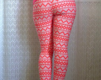 Womens Yoga Leggings, Geometric Leggings, Ethnic Tights, Printed Pants, Custom Gift for Her, Workout Pants, Yoga Tights