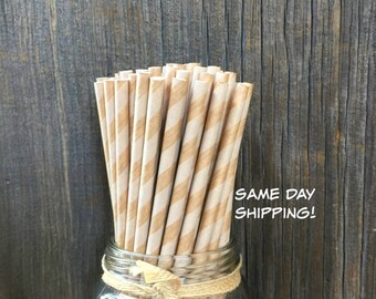 75 Kraft Brown Striped Paper Straws   Birthday, Wedding, Party Supply