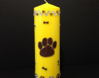 Paw Print, Dog Candle, Dog Lover Gift, Yellow Decor, Animal Decor, Pillar Candles, Dog Bone, Dog Lover, Unique Candles, Christmas In July