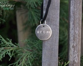 "Vegan Hand Stamped Black Faux ""Suede"" Necklace"