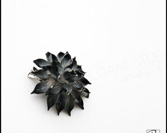 Gothic Flower Brooch Black White Polymer Clay Jewelry Handmade, Hair Clip, Floral Pendant, Goth style, Ready to ship.