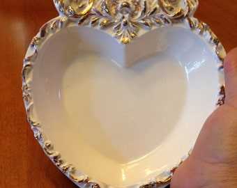 Pretty White and Gold Embellished Heart Trinket Plate