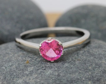 Genuine Pink sapphire 1ct solitaire ring available in Sterling Silver, White Gold or Titanium - engagement ring - wedding ring