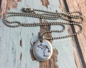 ALL 50 STATES ~ Michigan ~ Ohio ~ California ~ Texas ~ Colorado ~ Hand Stamped Pewter Pebble Charm Necklace ~ Custom ~ Personalized