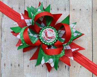 Ready to ship! Baby's first Christmas headband, Baby girl Christmas headband with bow, Baby's 1st Christmas bow