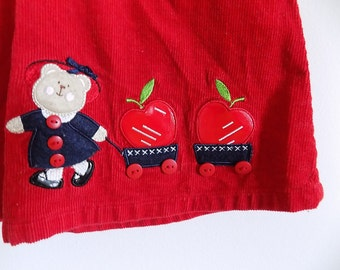 Vintage Corduroy Baby Girl Dress Red Teddy Bear Apples Snap Buttons 90's Vintage Size 18 Months