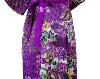Maternity Hospital Gown, Purple Flower Blooms Maternity gown,Snaps Breastfeeding, Skin to Skin - Snaps down back gown delivery