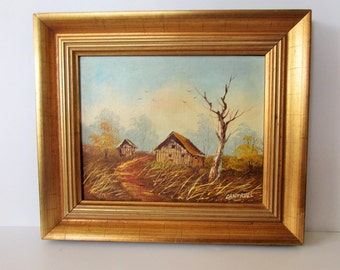Original  Vintage Painting In Oil On Board - 'Signed'.