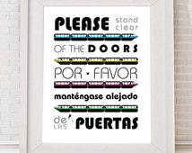 Disney Monorail, Please Stand Clear of the Doors, Word Art, digital download