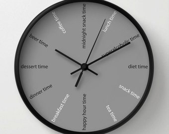 Kitchen Wall Clock, Fun Clock, Modern Wall Clock, Diet Clock , Grey  Decorative