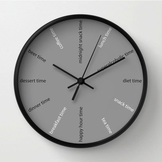 kitchen wall clock fun clock modern wall clock diet clock grey decorative - Designer Kitchen Wall Clocks