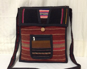 Free Ship, Kilim bag,Guatemalan, Purses bags, Shoulder Bag,red,black,saddle bag