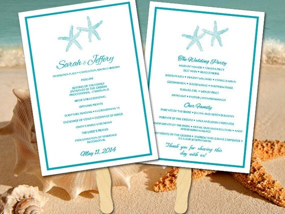 beach wedding program fan template ceremony program