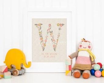 Custom Initial and 'W' Name Monogram Nursery Art Print, Personalized Baby Nursery Decor, Baby Room,  Giclee, Fine Art, Wall Art, Not Framed