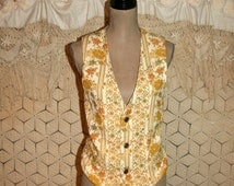 Vintage 70s Tapestry Vest Gold Floral Women Vest Gypsy Bohemian Floral Vest Vintage Vest Vintage Clothing 1970s Small Medium Womens Clothing