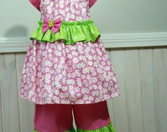 Girls Ruffle Outfit Girls ruffle pants Girls Size 5 Dress Girls Ruffle Dress Summer Outfit Girls Capri Set Cotton Dress Peasant Dress