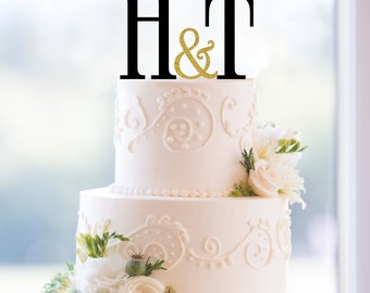 Monogram Wedding Cake Topper, Custom Two Initials and Small Ampersand Topper Available in 15 Colors, 12 Fonts and 18 Glitter Options- (T175)