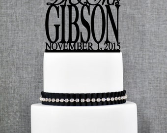 Script Dr and Mrs Last Name Wedding Cake Topper with Date, Unique Personalized Wedding Cake Topper, Elegant Dr and Mrs Cake Topper - (T168)