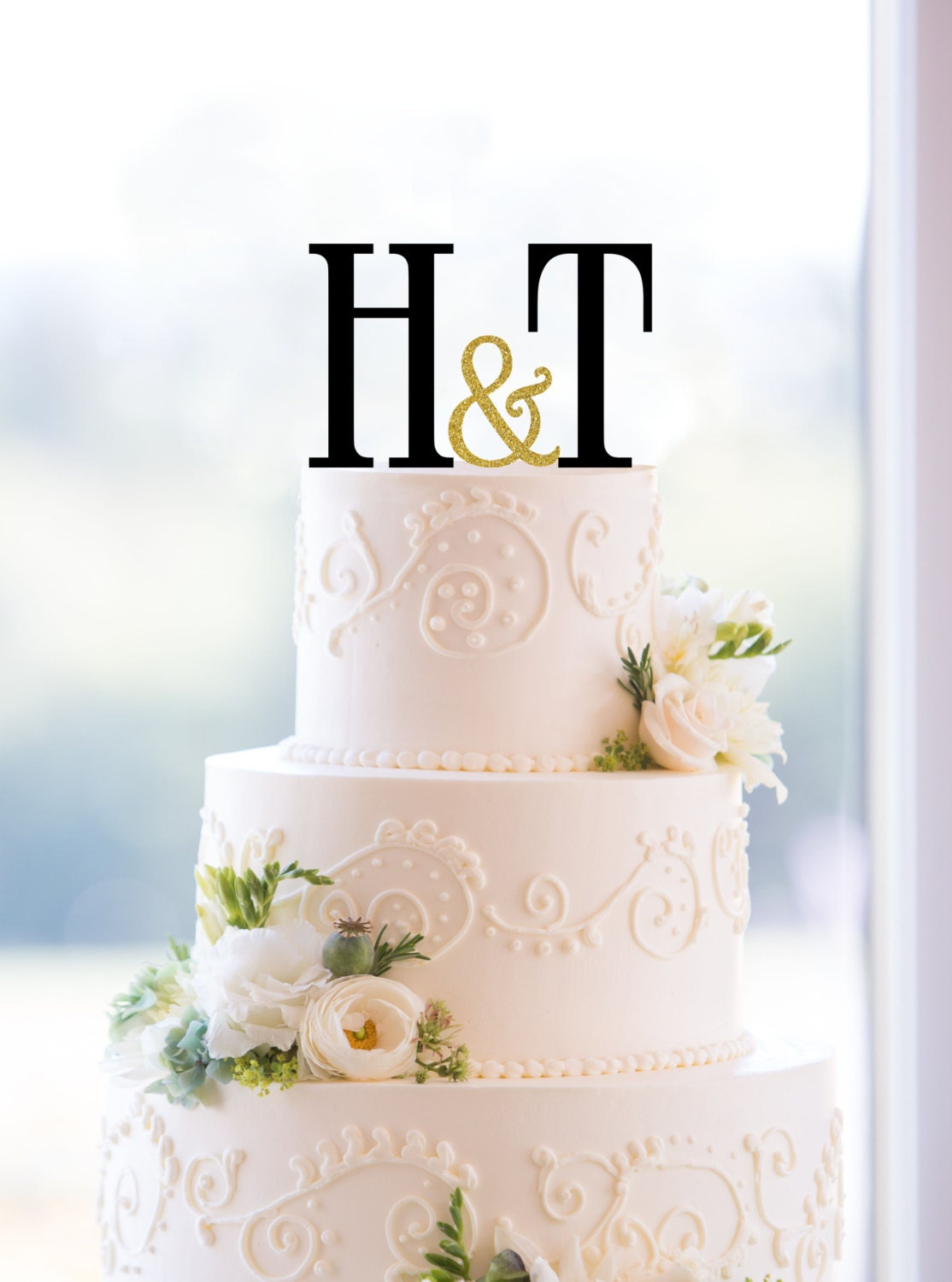Monogram Wedding Cake Topper Custom Two Initials and Small