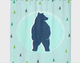 Bear Shower Curtain Woodland Decor Kids Shower Curtain Teal Shower Curtain Kids