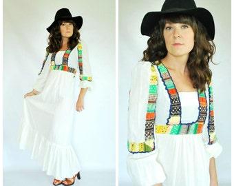1970's Cotton Maxi Dress - 70's Patchwork Peasant Dress - Size XS/S