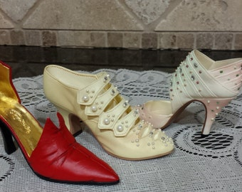 Set of THREE Just the Right Shoes~Edwardian Grace~Spring Raine~Red Devil
