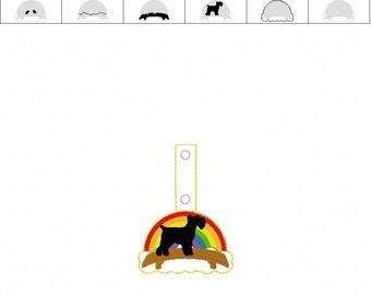 Miniature Schnauzer Rainbow Bridge - Dog - Pet Loss - In The Hoop - Snap/Rivet Key Fob - DIGITAL Embroidery Design