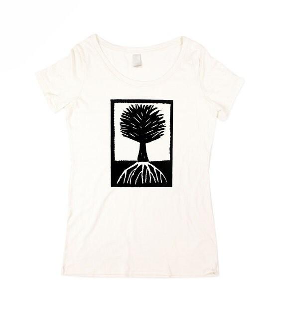 Womens Tree T-shirt  - BAMBOO -  Natural White Wood Cut Tree Shirt - In Small, Medium, Large, XL, 2XL