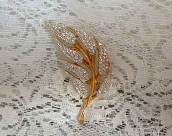 Vintage COROCRAFT Brooch Pin Gold Tone Leaf with Bezel Set Clear Rhinestones Signed