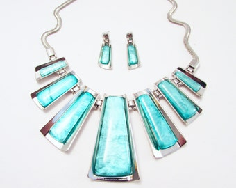 Chunky Statement Turquoise Blue Colour Enamelled Necklace and Earrings, Bold Abstract Necklace, Chunky Blue Ethnic Inspired Necklace