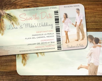 Couple Photo Save the Date Boarding Pass | Beach Scene| Blush n Golds | Travel Wedding | Mexico | Dominican | Vintage Palm