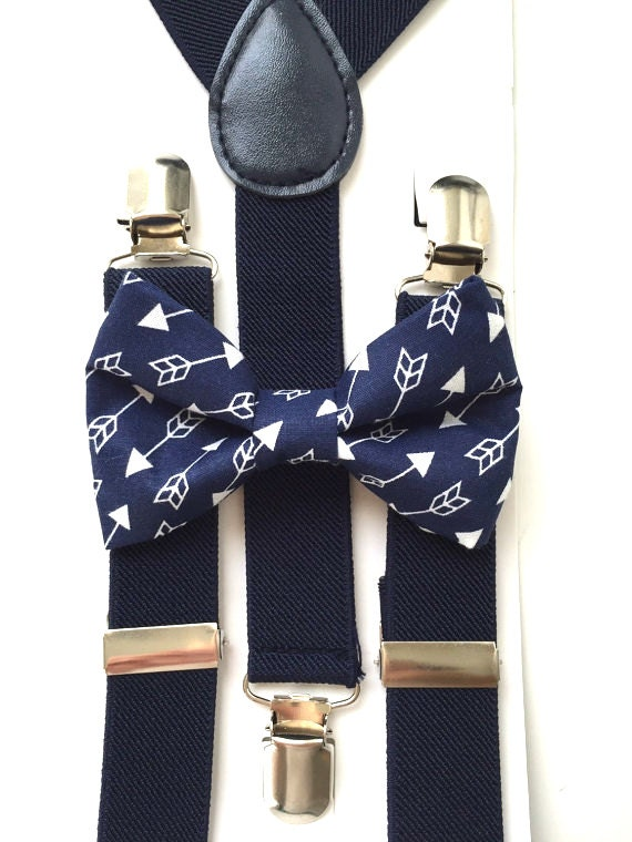 Navy Blue Suspenders and Arrows Bow Tie