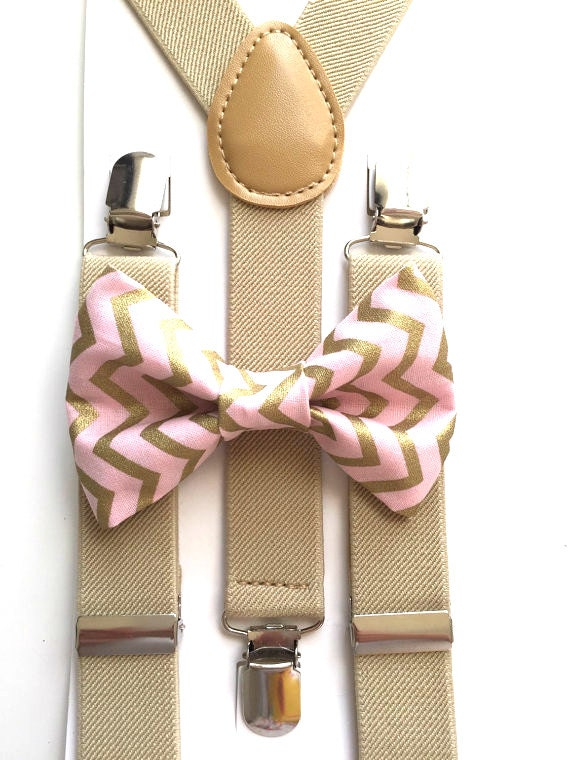 Tan Suspenders and Pink Chevron Bow Tie