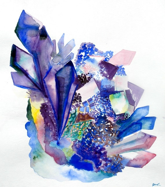 Sea crystal cluster original watercolor painting the desert for Paintings of crystals