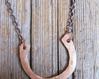 Simple Horseshoe. Pounded Penny Necklace.