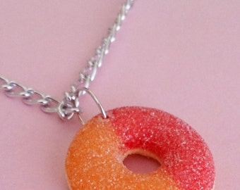 Peach Ring Gummy Necklace - Miniature Food Jewelry