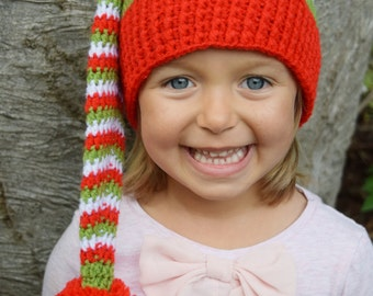 Crochet Elf hat, Elfin Hat, Boys hat, Girls hat, Gnome hat, a striped Elf hat, Christmas hat