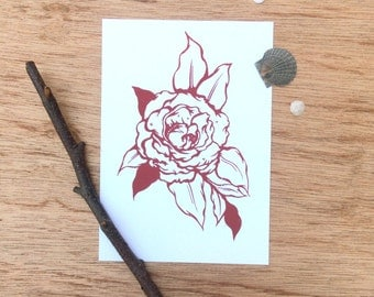 Rose, Hand Printed Screen Print, Traditional Tattoo Style Rose, Botanical Print, 5x7""