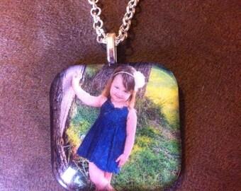 Custom 1.5 Inch Glass Photo Necklace