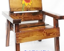 Childrens Solid Wood Chair, 1st Birthday Gift Girl, Kids Outdoor Patio Furniture, Baby/Toddler/Garden & Farm Decor, Engraved Sunflower Panel