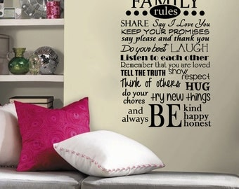 Family Rules Wall Decal 22x32