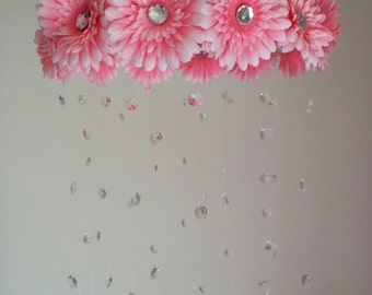 flower baby mobile, baby girl mobile, pink mobile, baby mobile, pink flower mobile, princess mobile, crystal baby mobile