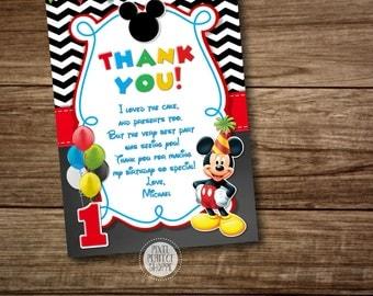 Mickey Mouse Thank You Card, Clubhouse Mickey, Birthday Invitation, Printable Mickey Mouse Invitation, Mickey Photo Invitation