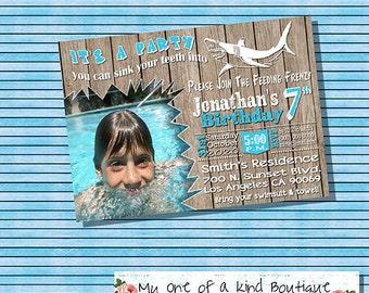 Shark Pool party invitation birthday pool shark party photo invite summer pool wood panel fence digital printable invitation 13653