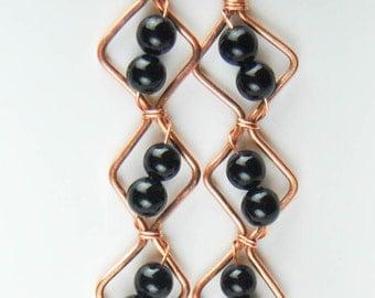 "Black Onyx ""Fish-Tail"" Earrings"