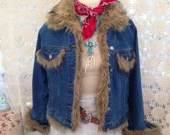 Tasha Polizzi Denim Jacket with Faux Fur..Women's  Size Large- 100% Cotton Denim- Western Designer-TP Saddleblanket & Co.